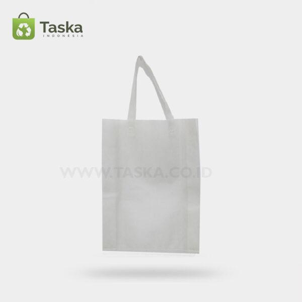 Tas Press Spunbond Handle – Putih 25×35 Cm – Sisi Depan