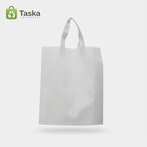 Tas Press Spunbond Handle – Putih 38×45 Cm – Sisi Depan